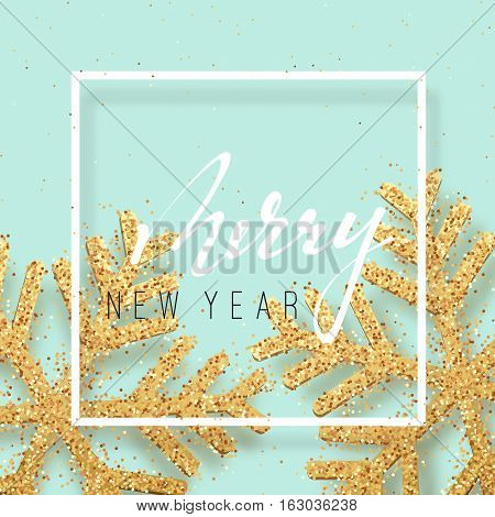 Christmas background with Shining gold Snowflakes. Lettering Merry New Year card vector Illustration.