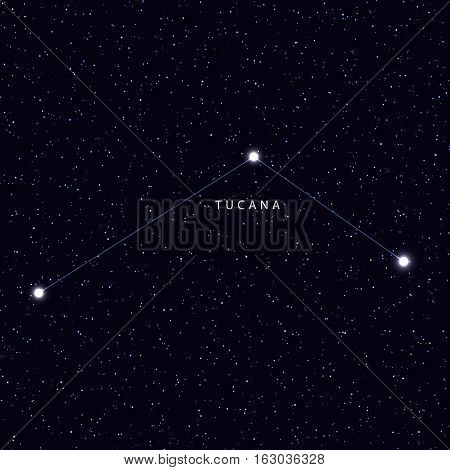 Sky Map with the name of the stars and constellations. Astronomical symbol constellation Tucana