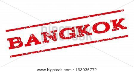 Bangkok watermark stamp. Text caption between parallel lines with grunge design style. Rubber seal stamp with unclean texture. Vector red color ink imprint on a white background.