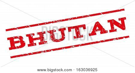 Bhutan watermark stamp. Text caption between parallel lines with grunge design style. Rubber seal stamp with unclean texture. Vector red color ink imprint on a white background.