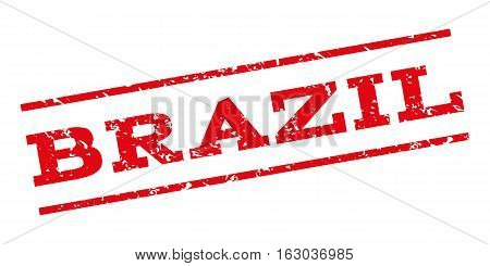 Brazil watermark stamp. Text tag between parallel lines with grunge design style. Rubber seal stamp with scratched texture. Vector red color ink imprint on a white background.