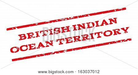 British Indian Ocean Territory watermark stamp. Text tag between parallel lines with grunge design style. Rubber seal stamp with scratched texture. Vector red color ink imprint on a white background.