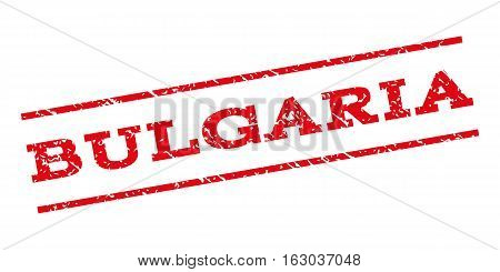 Bulgaria watermark stamp. Text caption between parallel lines with grunge design style. Rubber seal stamp with dirty texture. Vector red color ink imprint on a white background.