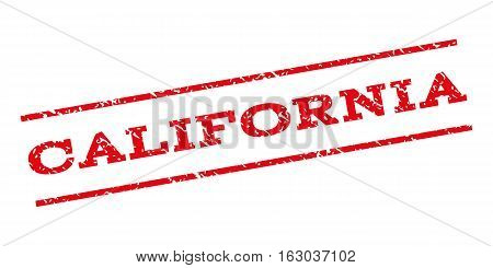 California watermark stamp. Text tag between parallel lines with grunge design style. Rubber seal stamp with dirty texture. Vector red color ink imprint on a white background.