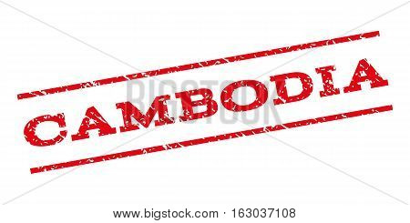 Cambodia watermark stamp. Text caption between parallel lines with grunge design style. Rubber seal stamp with unclean texture. Vector red color ink imprint on a white background.