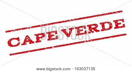 Cape Verde watermark stamp. Text caption between parallel lines with grunge design style. Rubber seal stamp with scratched texture. Vector red color ink imprint on a white background.