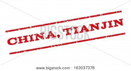 China Tianjin watermark stamp. Text tag between parallel lines with grunge design style. Rubber seal stamp with dirty texture. Vector red color ink imprint on a white background.