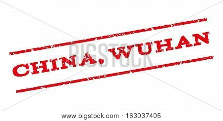 China Wuhan watermark stamp. Text tag between parallel lines with grunge design style. Rubber seal stamp with dust texture. Vector red color ink imprint on a white background.