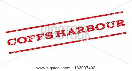 Coffs Harbour watermark stamp. Text tag between parallel lines with grunge design style. Rubber seal stamp with dirty texture. Vector red color ink imprint on a white background.