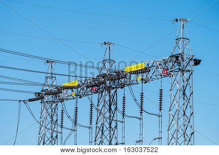 Electric post power-plant transformer station. Sub station