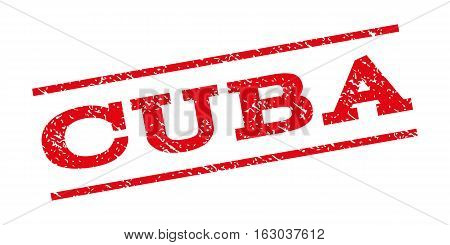Cuba watermark stamp. Text tag between parallel lines with grunge design style. Rubber seal stamp with dust texture. Vector red color ink imprint on a white background.
