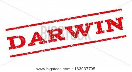Darwin watermark stamp. Text caption between parallel lines with grunge design style. Rubber seal stamp with dust texture. Vector red color ink imprint on a white background.