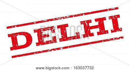 Delhi watermark stamp. Text caption between parallel lines with grunge design style. Rubber seal stamp with scratched texture. Vector red color ink imprint on a white background.