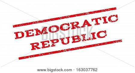 Democratic Republic watermark stamp. Text tag between parallel lines with grunge design style. Rubber seal stamp with dirty texture. Vector red color ink imprint on a white background.
