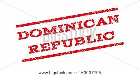 Dominican Republic watermark stamp. Text caption between parallel lines with grunge design style. Rubber seal stamp with unclean texture. Vector red color ink imprint on a white background.