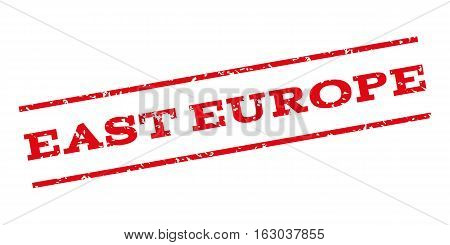 East Europe watermark stamp. Text tag between parallel lines with grunge design style. Rubber seal stamp with unclean texture. Vector red color ink imprint on a white background.