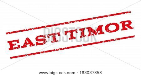 East Timor watermark stamp. Text tag between parallel lines with grunge design style. Rubber seal stamp with dust texture. Vector red color ink imprint on a white background.