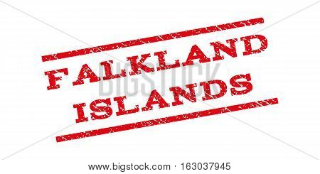 Falkland Islands watermark stamp. Text tag between parallel lines with grunge design style. Rubber seal stamp with unclean texture. Vector red color ink imprint on a white background.