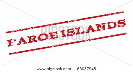 Faroe Islands watermark stamp. Text caption between parallel lines with grunge design style. Rubber seal stamp with dust texture. Vector red color ink imprint on a white background.