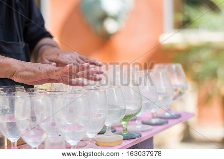 Close up man playing glass, Musical, glass player