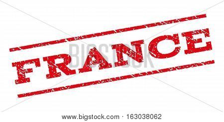 France watermark stamp. Text caption between parallel lines with grunge design style. Rubber seal stamp with scratched texture. Vector red color ink imprint on a white background.