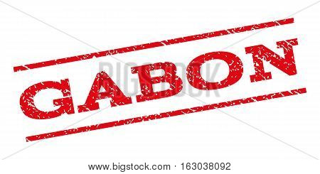 Gabon watermark stamp. Text tag between parallel lines with grunge design style. Rubber seal stamp with dust texture. Vector red color ink imprint on a white background.