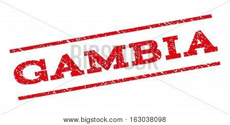 Gambia watermark stamp. Text tag between parallel lines with grunge design style. Rubber seal stamp with dirty texture. Vector red color ink imprint on a white background.