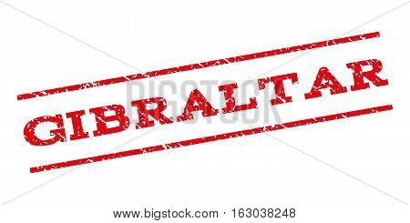 Gibraltar watermark stamp. Text tag between parallel lines with grunge design style. Rubber seal stamp with unclean texture. Vector red color ink imprint on a white background.