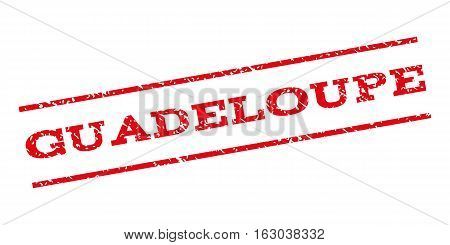 Guadeloupe watermark stamp. Text tag between parallel lines with grunge design style. Rubber seal stamp with dust texture. Vector red color ink imprint on a white background.