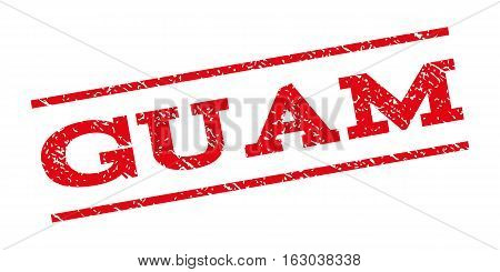 Guam watermark stamp. Text caption between parallel lines with grunge design style. Rubber seal stamp with unclean texture. Vector red color ink imprint on a white background.