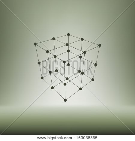 Wire Frame Polygonal Element. Cube With Lines And Dots
