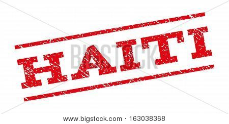 Haiti watermark stamp. Text tag between parallel lines with grunge design style. Rubber seal stamp with scratched texture. Vector red color ink imprint on a white background.