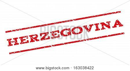 Herzegovina watermark stamp. Text caption between parallel lines with grunge design style. Rubber seal stamp with dust texture. Vector red color ink imprint on a white background.