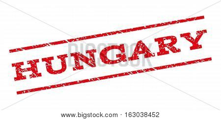 Hungary watermark stamp. Text caption between parallel lines with grunge design style. Rubber seal stamp with dirty texture. Vector red color ink imprint on a white background.
