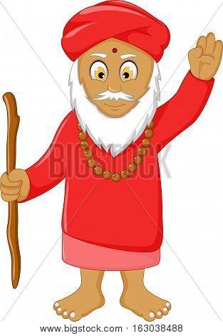 happy religious leader cartoon for you design