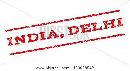 India Delhi watermark stamp. Text caption between parallel lines with grunge design style. Rubber seal stamp with scratched texture. Vector red color ink imprint on a white background.