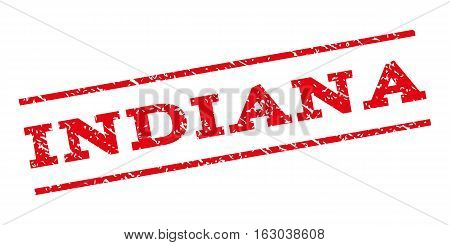 Indiana watermark stamp. Text caption between parallel lines with grunge design style. Rubber seal stamp with scratched texture. Vector red color ink imprint on a white background.