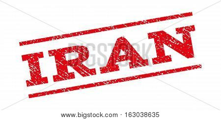 Iran watermark stamp. Text caption between parallel lines with grunge design style. Rubber seal stamp with dirty texture. Vector red color ink imprint on a white background.
