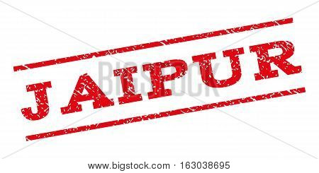 Jaipur watermark stamp. Text tag between parallel lines with grunge design style. Rubber seal stamp with unclean texture. Vector red color ink imprint on a white background.