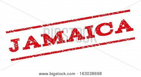 Jamaica watermark stamp. Text caption between parallel lines with grunge design style. Rubber seal stamp with unclean texture. Vector red color ink imprint on a white background.