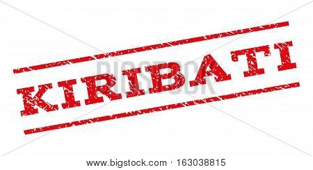 Kiribati watermark stamp. Text caption between parallel lines with grunge design style. Rubber seal stamp with dust texture. Vector red color ink imprint on a white background.