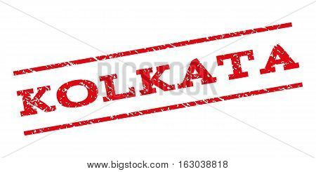 Kolkata watermark stamp. Text tag between parallel lines with grunge design style. Rubber seal stamp with scratched texture. Vector red color ink imprint on a white background.