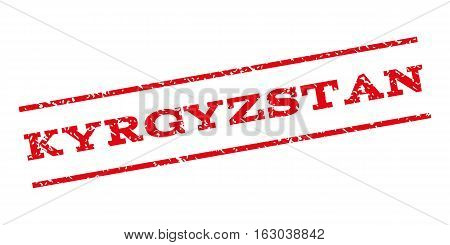 Kyrgyzstan watermark stamp. Text tag between parallel lines with grunge design style. Rubber seal stamp with scratched texture. Vector red color ink imprint on a white background.