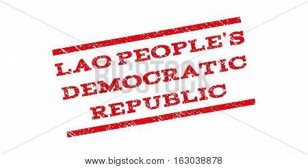 Lao People'S Democratic Republic watermark stamp. Text caption between parallel lines with grunge design style. Rubber seal stamp with unclean texture.