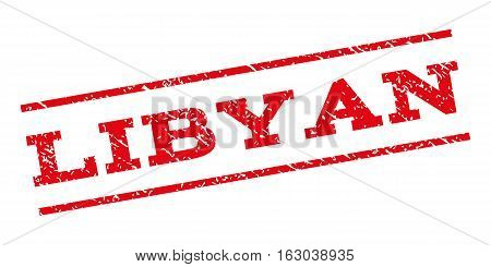 Libyan watermark stamp. Text caption between parallel lines with grunge design style. Rubber seal stamp with scratched texture. Vector red color ink imprint on a white background.