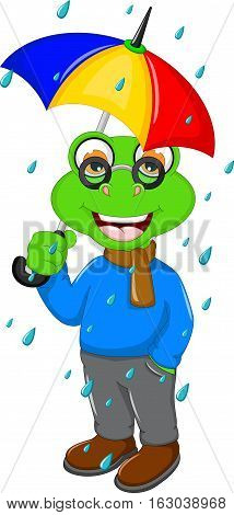 cute frog cartoon wearing an umbrella when heavy rain