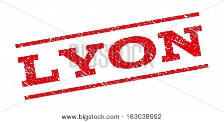 Lyon watermark stamp. Text caption between parallel lines with grunge design style. Rubber seal stamp with scratched texture. Vector red color ink imprint on a white background.
