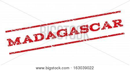 Madagascar watermark stamp. Text caption between parallel lines with grunge design style. Rubber seal stamp with scratched texture. Vector red color ink imprint on a white background.