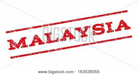 Malaysia watermark stamp. Text caption between parallel lines with grunge design style. Rubber seal stamp with dirty texture. Vector red color ink imprint on a white background.