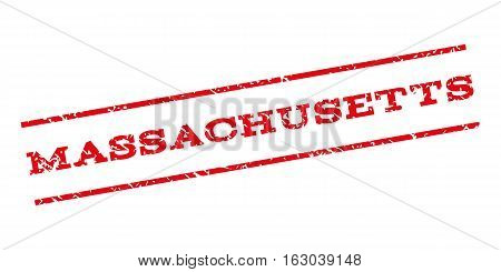 Massachusetts watermark stamp. Text tag between parallel lines with grunge design style. Rubber seal stamp with scratched texture. Vector red color ink imprint on a white background.